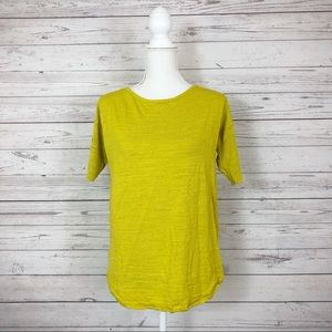 LOFT Yellow Short Sleeve Shirt